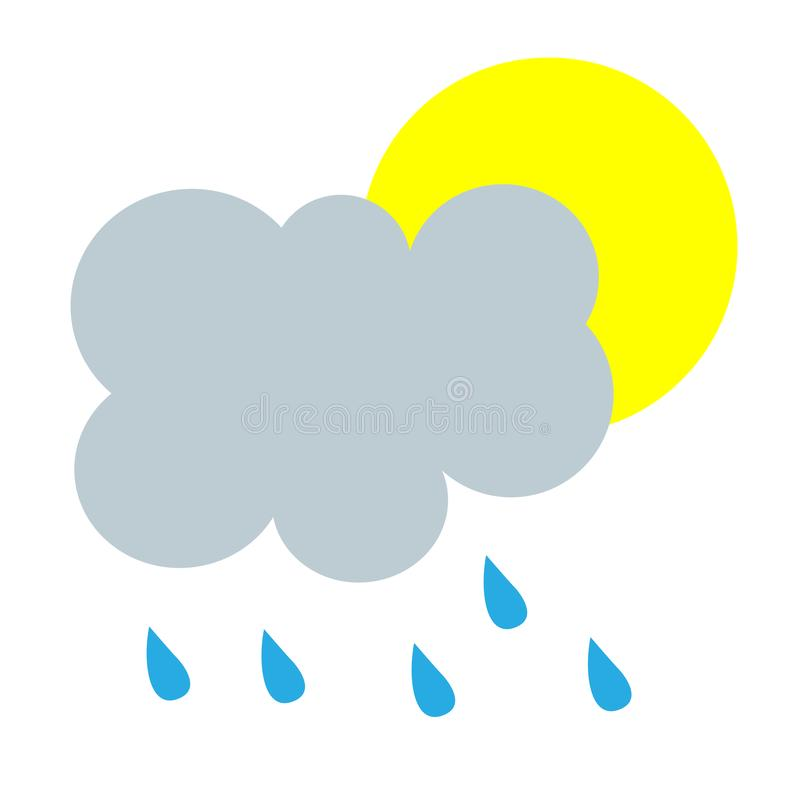 simple cartoon illustration of partly cloudy rain weather