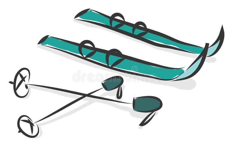 Simple cartoon of a pair of blue snowskis vector illustration royalty free illustration