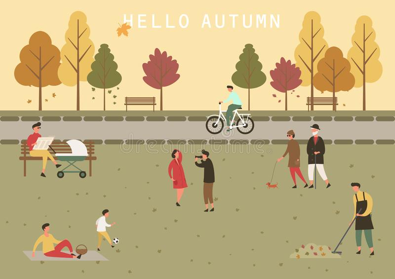 Park at autumn or fall with people activity vector illustration