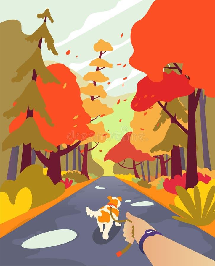 Simple cartoon people at autumn park. Walk the dog. Walking with dog.Autumn landscape minimalistic style, orange season palette . stock illustration