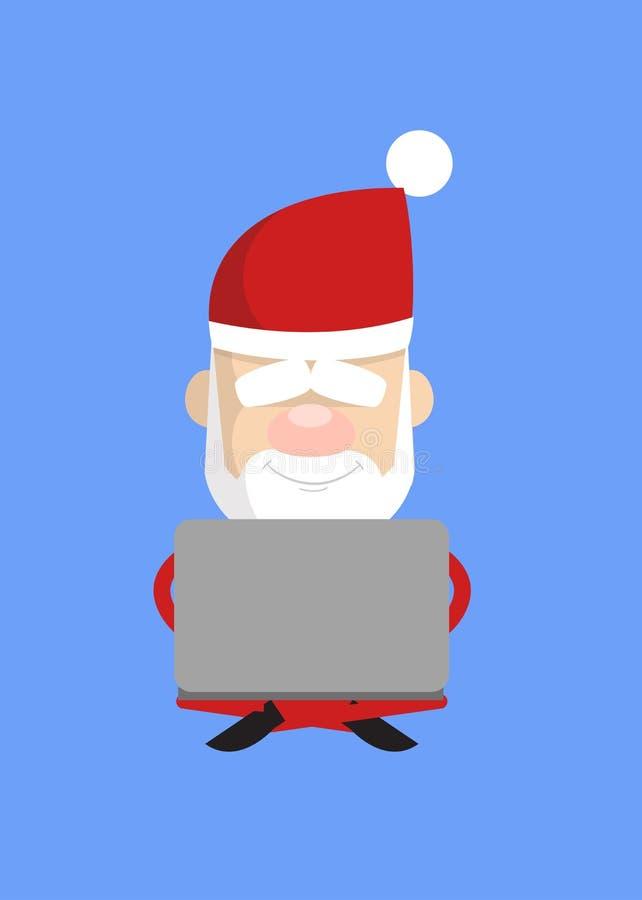 Simple Cartoon Santa - Sitting and Working on Laptop royaltyfri illustrationer