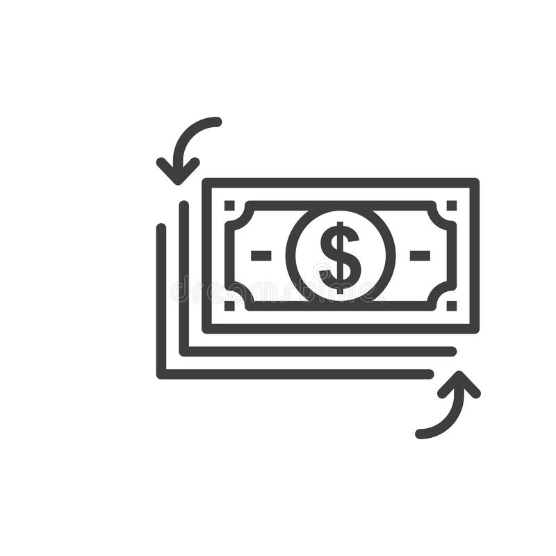 Simple cash flow isolated Graphic line vector illustration. editable Style in EPS 10 business concept. Outline cash flow graphic vector icon. isolated black vector illustration
