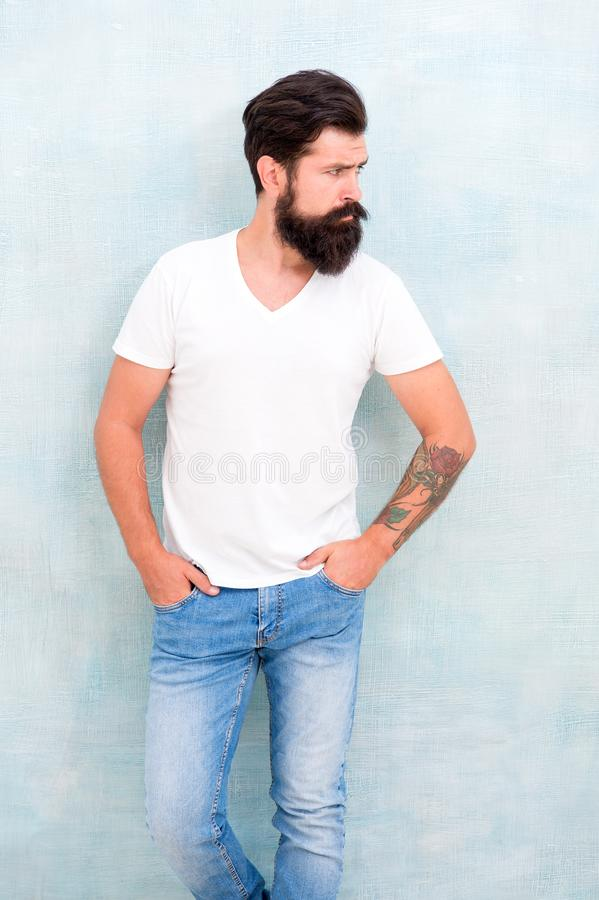 Simple and casual. Masculinity concept. Fashion and beauty. Hipster long well groomed beard and mustache. Casual style royalty free stock image