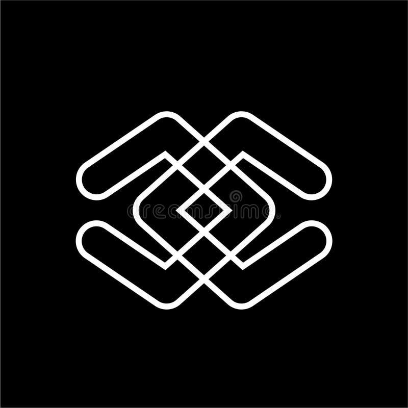 Simple cc, dd initials line art logo stock illustration