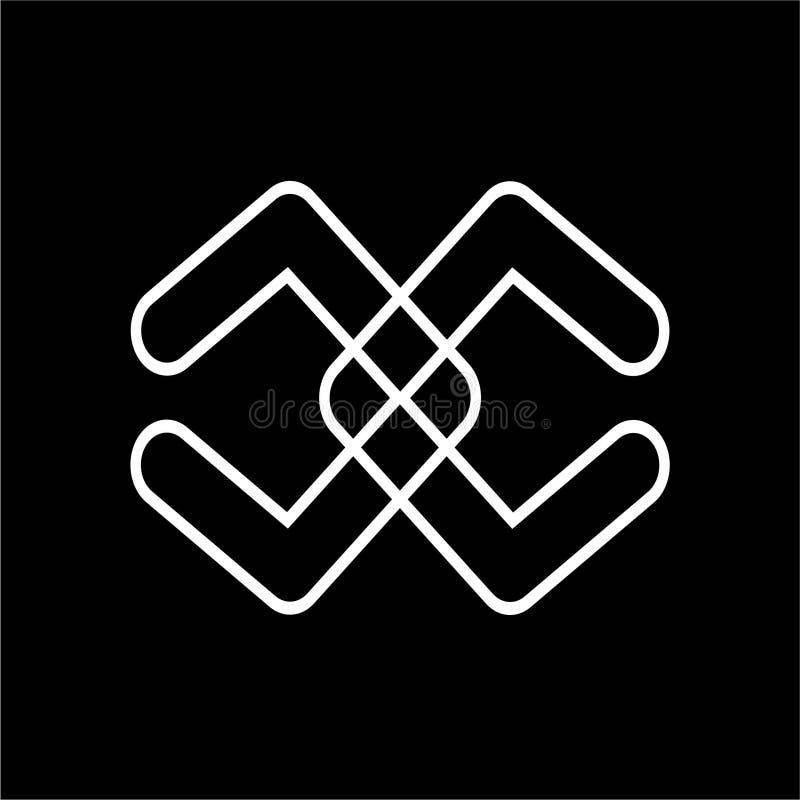 simple cc, dd initials line art logo vector royalty free illustration