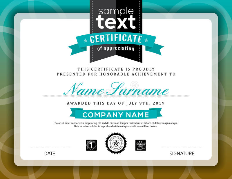Simple certificate of appreciation border frame template. Simple certificate of appreciation border background frame design template stock illustration