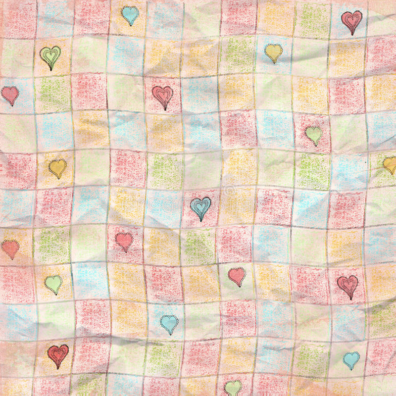 Simple Checkered Heart Worn Folded Grunge Paper Background stock illustration