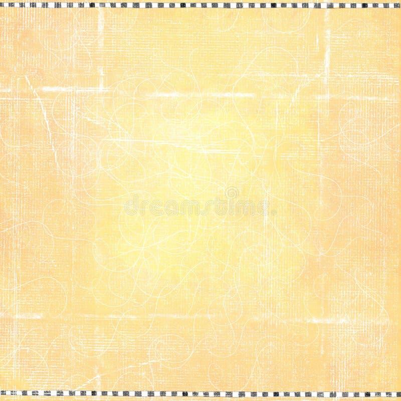 Simple Checkered Orange Worn Folded Grunge Paper Background royalty free illustration