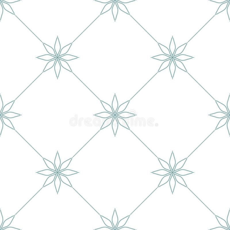 Simple checkered ornament with floral elements. Blue dotted pattern on white background. Seamless texture vector illustration