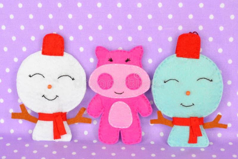Handmade felt Christmas toys. Handmade kids craft stock photos