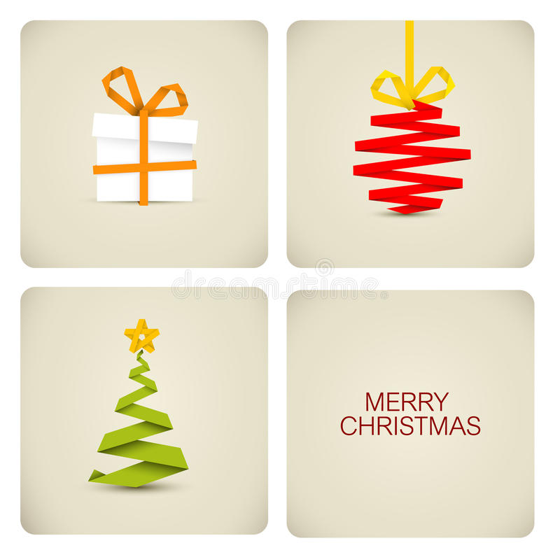 Simple christmas decoration made from paper vector illustration