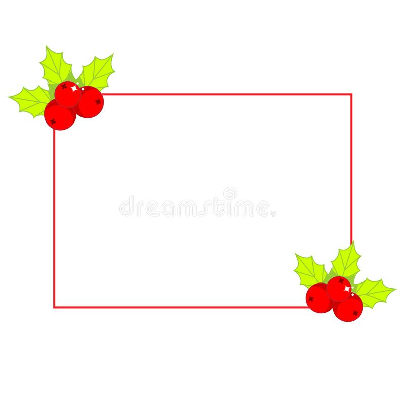 Simple Christmas frame decorated with holly ilex. New Year blank design element royalty free illustration