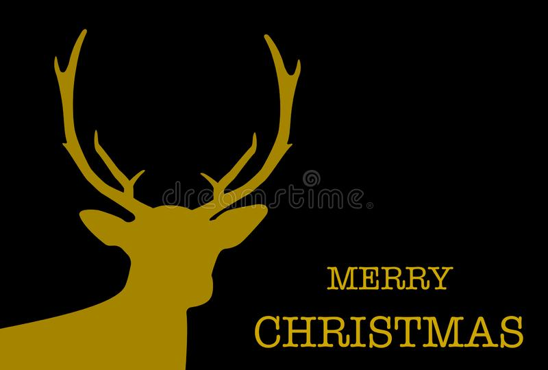 Simple christmas greeting card with reindeer silhouette and words Merry Christmas. Vector illustration royalty free illustration