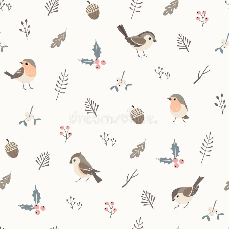 Simple Christmas pattern. Christmas flora seamless pattern with cute little birds stock illustration