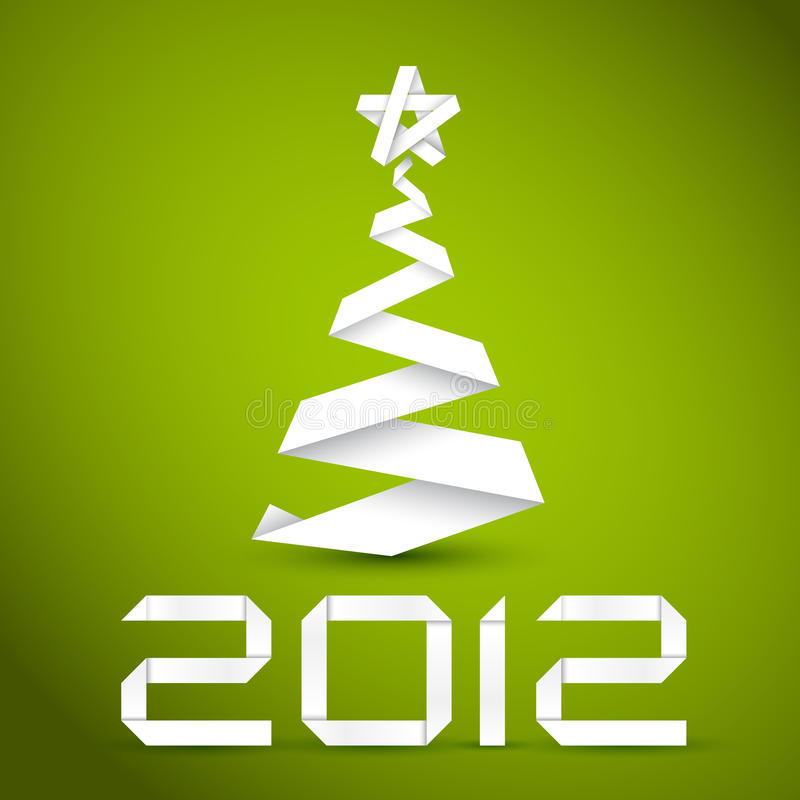 Download Simple Christmas Tree Made From Paper Stripe Stock Illustration - Image: 21214356