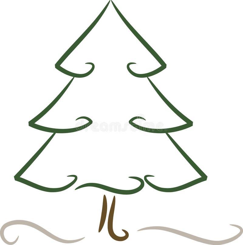 Simple (christmas) tree in winter stock illustration