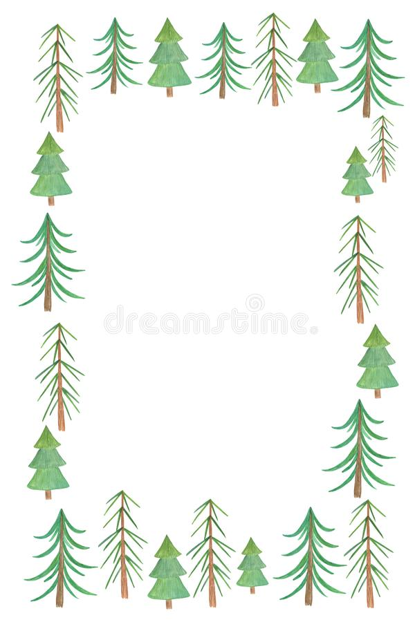 Simple christmas trees card arrangement with copy space for your text, watercolor illustration, simple holiday ornament. Simple christmas trees card arrangement stock illustration