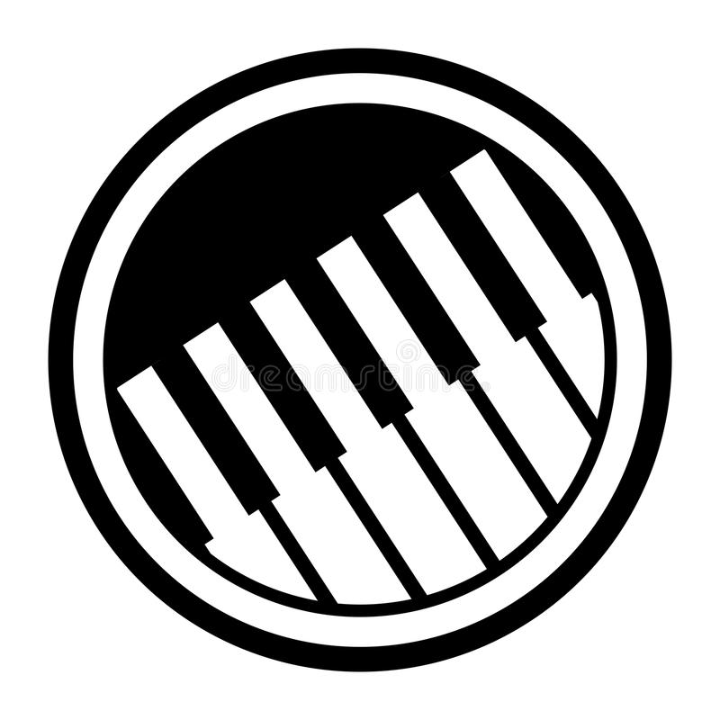 Simple, circular, black and white piano keys icon. Isolated on white vector illustration