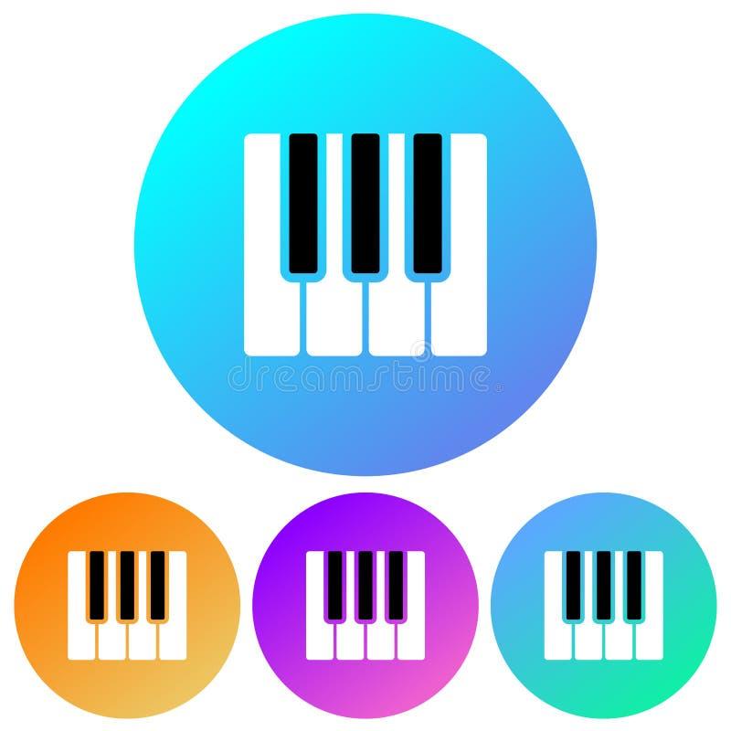 Simple, circular, gradient piano keys icon. Four color variations royalty free illustration
