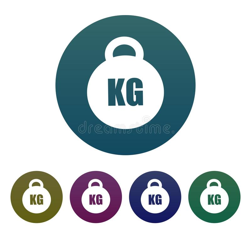 Simple, circular, gradient weight icon. Weight in kilograms. Five color variations vector illustration