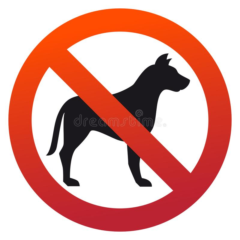 Simple, circular, `No pets allowed` sign. Red gradient, black silhouette stock illustration
