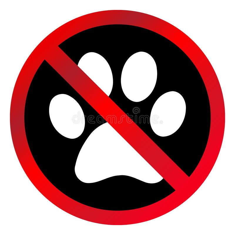 Simple, circular `No pets allowed` sign. Red gradient sign, white paw mark on black stock illustration