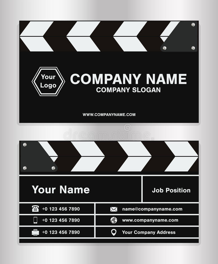 Simple clapperboard theme business name card template for movie director vector illustration