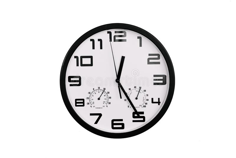 Simple Classic Black And White Round Wall Clock Isolated On White Clock With Arabic Numerals On Wall Shows 12 25 00 25 Stock Photo Image Of Isolated Object 152807812