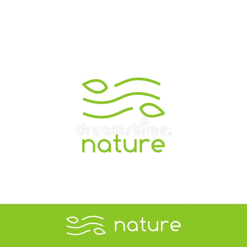 Simple clean air wind wave nature logo with minimal line outline monoline icon symbol of leaf and wind stock illustration