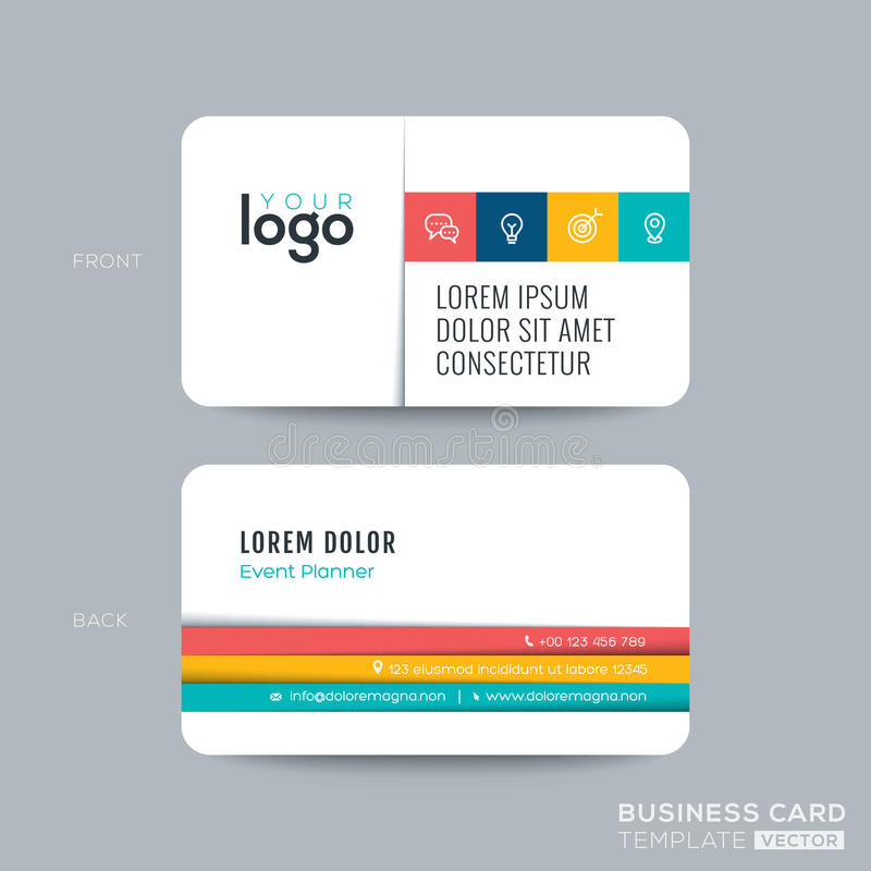 Simple Clean Business Card Design Stock Vector - Illustration of ...