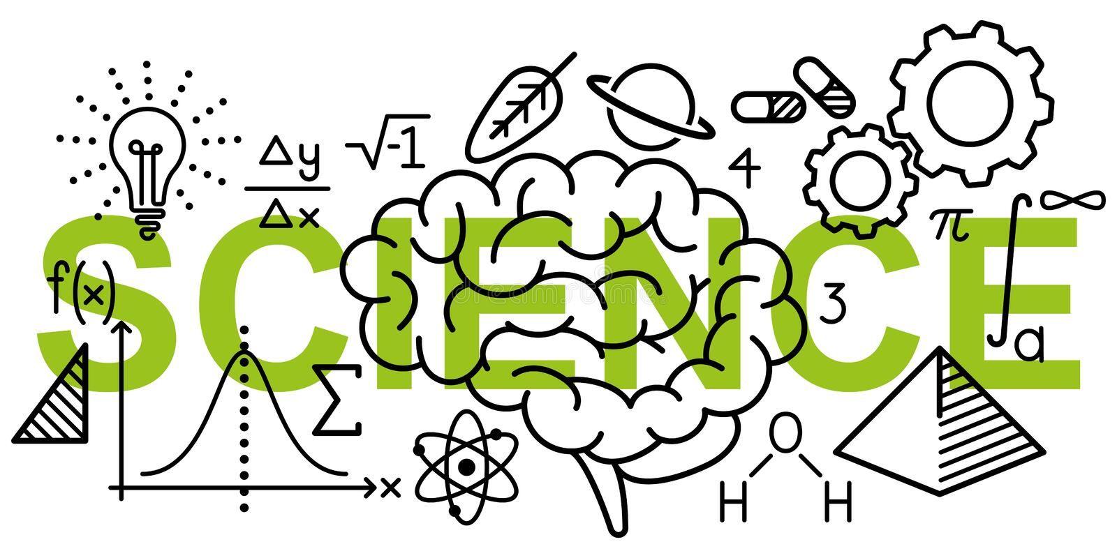Simple clean conceptional vector illustration of math and science related line icons on word SCIENCE stock illustration