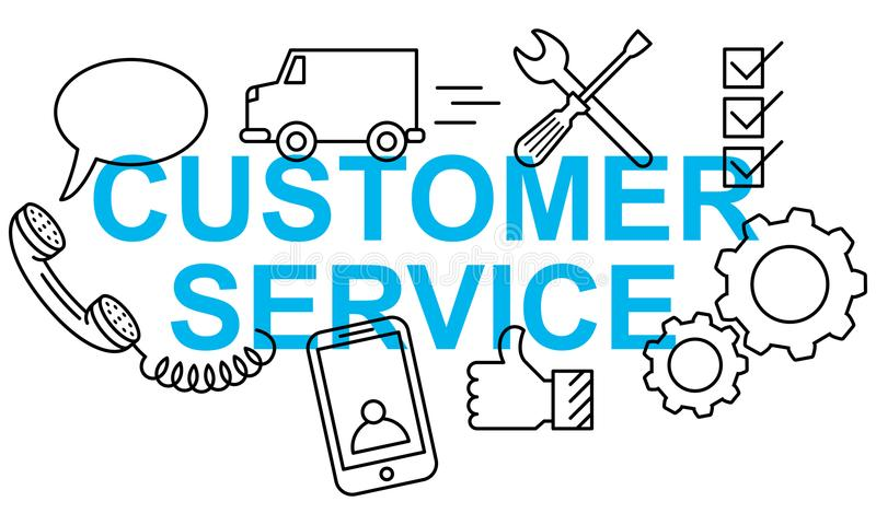 Simple clean conceptional vector illustration of text CUSTOMER SERVICE banner with flat line icons. Simple clean conceptional vector illustration of blue text stock illustration