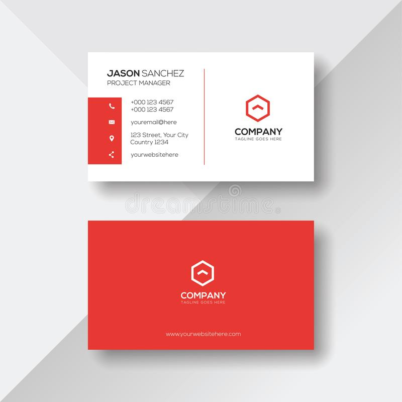 Simple and Clean Red and White Business Card Template vector illustration
