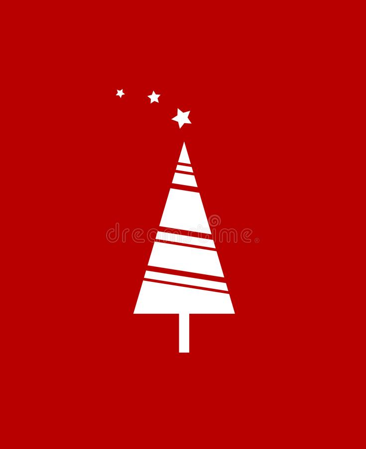 Christmas tree over red background. Flat icon. Clean design. Vector icon. stock illustration