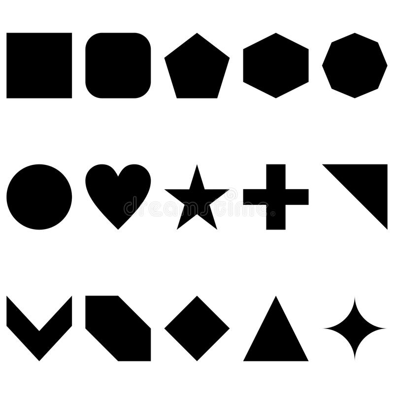 15 simple clean vector illustration of shapes in black vector illustration