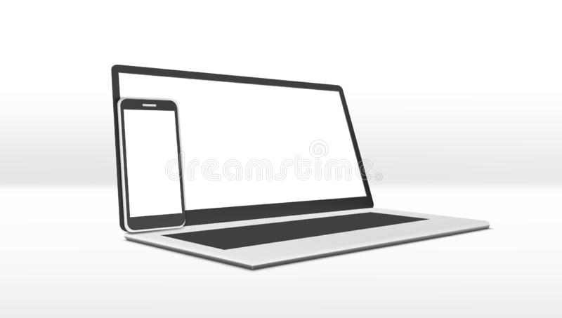 Simple Clear Laptop And Smartphone With White Display. EPS10 Vector stock illustration