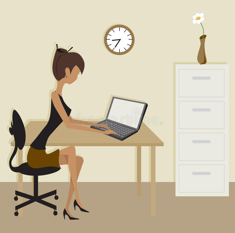 Simple Clip Art Office Scene royalty free stock photography