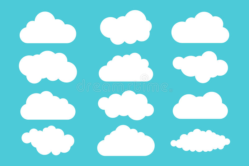 Simple cloud collection. Set of different clouds. Icons and logo cloud set. Design template royalty free illustration