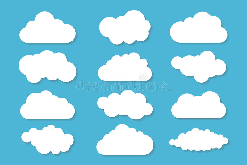 Simple cloud collection with shadow. Set of different clouds. Icons and logo cloud set. Design template stock illustration