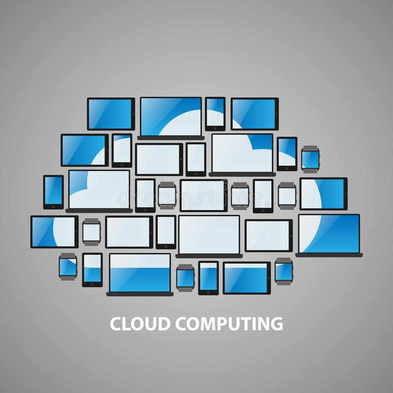 Stylized cloud computing devices design. Simple cloud computing devices including laptops, tablets, mobile phones and smart watches with cloud symbol on screen royalty free stock images