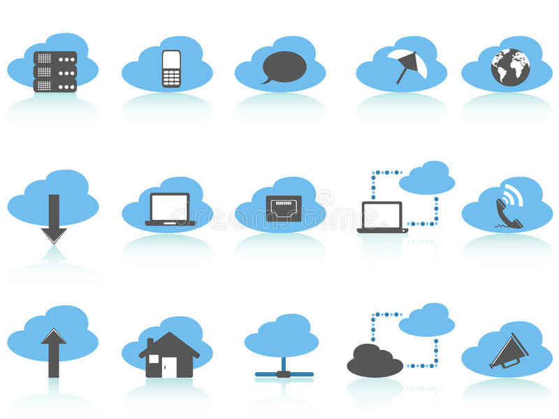 Simple Cloud Computing Icons Set,blue Series Royalty Free Stock Images