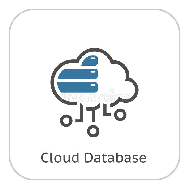 Simple Cloud Database Vector Line Icon royalty free illustration