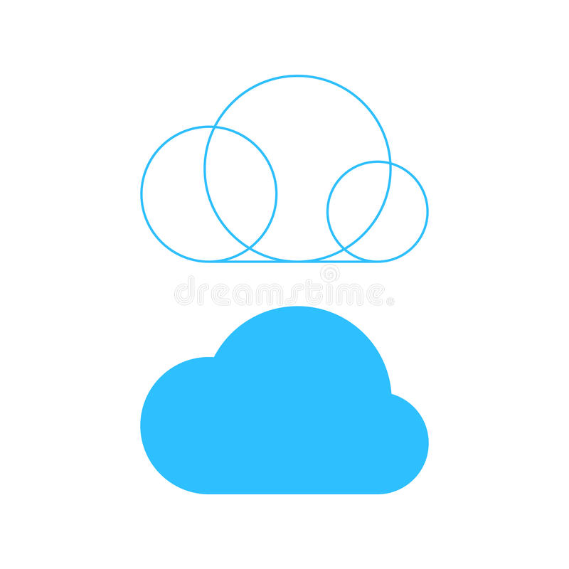 Simple cloud icon with outline base vector illustration