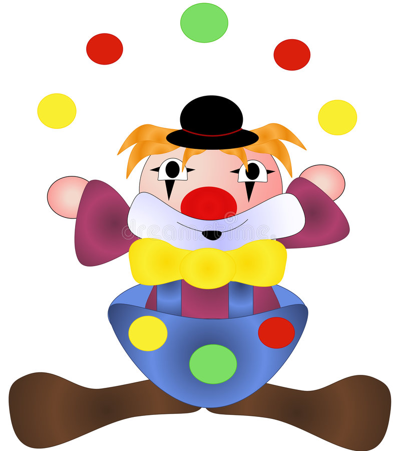 Simple clown juggling stock illustration