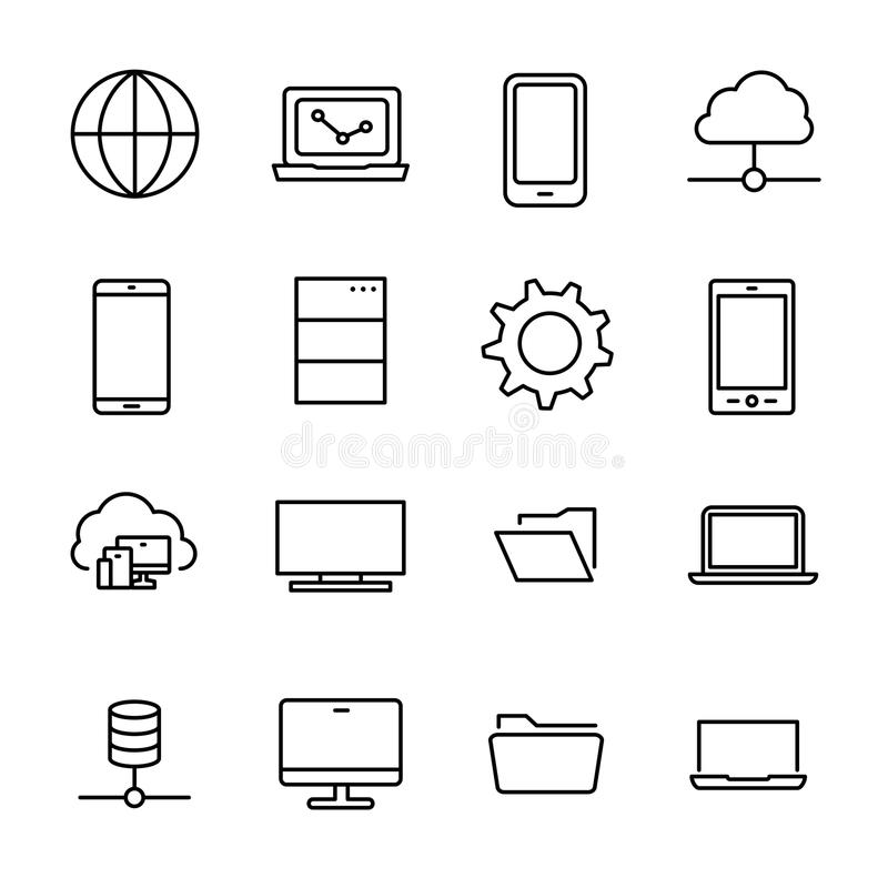 Simple collection of information technology IT related line icons. royalty free illustration