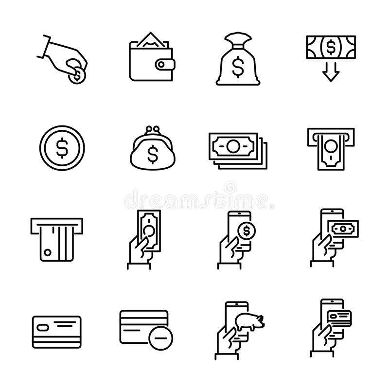 Simple collection of internet banking related line icons. Thin line vector set of signs for infographic, logo, app development and website design. Premium stock illustration
