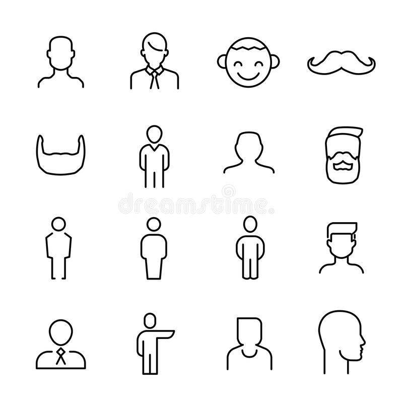 Simple collection of man related line icons. royalty free illustration