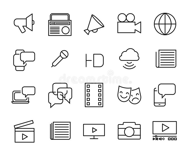Simple collection of mass media related line icons. vector illustration
