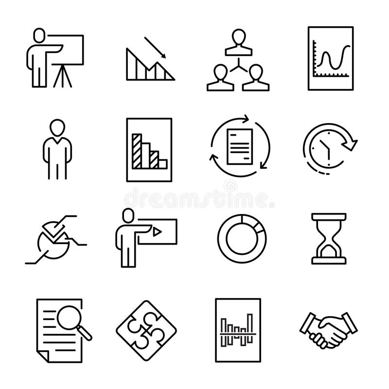 Simple collection of presentation related line icons royalty free illustration