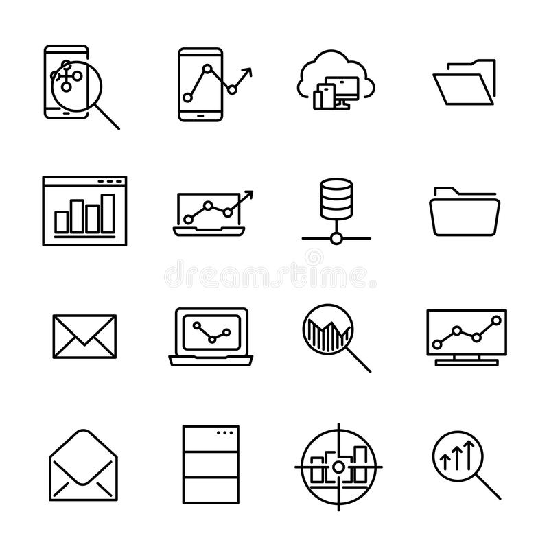 Simple collection of program development related line icons. stock illustration